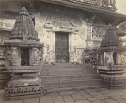 Views in Mysore. Bailoor Temple [Chennakeshava Temple, Belur]. The south entrance